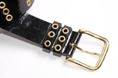 Rock Style Women Black Polished Vertically Perforated Belt w Gold Details S400