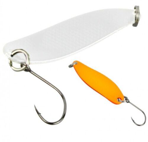 FTM Trout Spoon Forellenblinker Hammer 624 UV Weiss UV Orange 2,4g 5200624 UL
