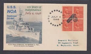 US-Sc-803-on-1946-cacheted-cover-Fancy-CDS-amp-Firecracker-cancel-of-USS-Noa