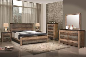 Image Is Loading Multi Tonal Brown Rustic Plank Wood King Bed