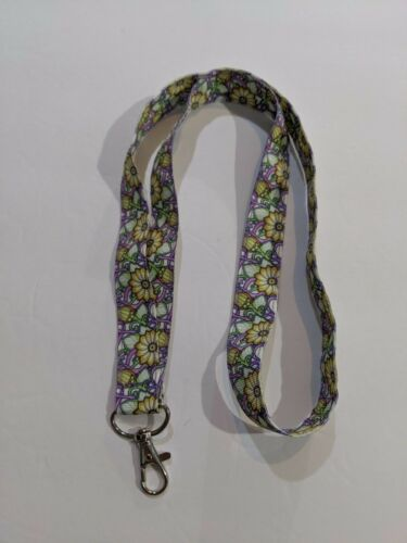 """Bohemian Floral Boho Flowers 1/"""" Wide ID Lanyard with Lobster Claw Clasp"""