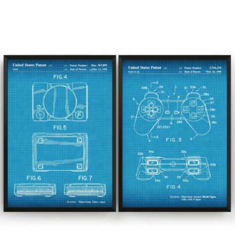 Unframed PlayStation Set Of 2 Patent Prints Poster Wall Art Decor Gifts