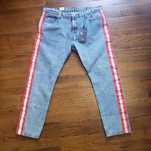 NWT-Levi-039-s-512-Stripe-Red-Reflective-Tape-Slim-Taper-Fit-Jeans-BIG-E-42X32-42-32