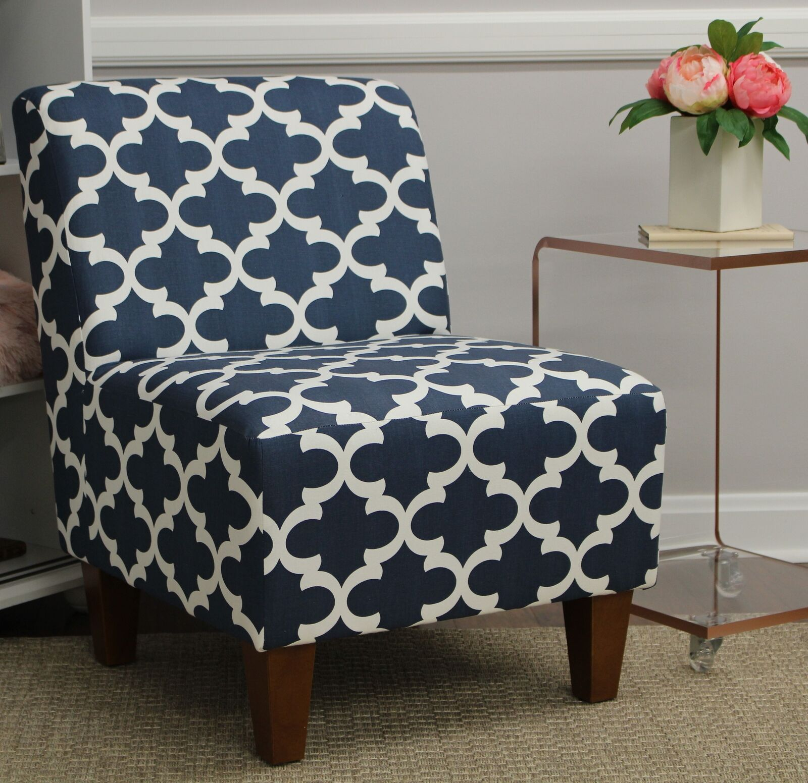 Picture of: Blue White Accent Slipper Chair Moroccan Geometric Print Upholstered Modern For Sale Online