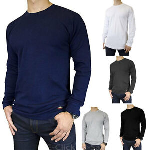 Men-Thermal-Mid-Weight-Long-Sleeve-Shirts-Underwear-Waffle-Color-Crew-Neck-S-3XL