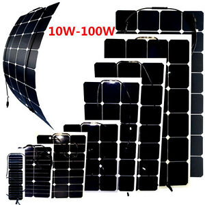 10w 100w halbflexibel solarpanel solarmodul solarzelle. Black Bedroom Furniture Sets. Home Design Ideas