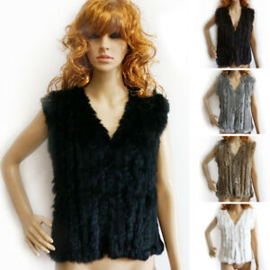Women-Real-Rabbit-Fur-Vest-Highly-Recommend-Knitted-Gilet-V-Neck-Winter-Warm-Top