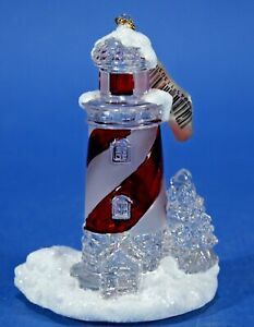 Lighthouse-Christmas-Ornament-Roman-Inc-2004-Red-and-White-NEW-in-box