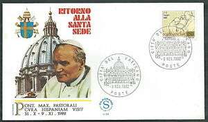 1982 Vaticano Viaggi Del Papa Ritorno Dalla Spagna - Sv Produire Un Effet Vers Une Vision Claire