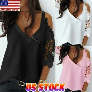 Womens Summer Casual Short Lace Sleeve Tee Tops Cold Shoulder Blouse T-Shirt US
