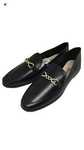 NWT-79-90-Zara-shoes-Black-Leather-Loafers-Gold-Chain-Slip-On-Flats-Women-71-2