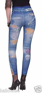 80-039-s-PUNK-ROCK-JEGGINGS-Jean-Legging-Themed-Graphics-FAUX-TATTERED-TORN-Pant-2-6