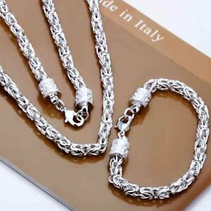 Asamo Schmuckset Königskette Halskette Armband Silber Plattiert Damen Herren Erfrischung