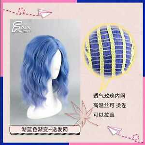 Lake blue gradual purple girl Short curly hair cosplay wig party mask Synthetic