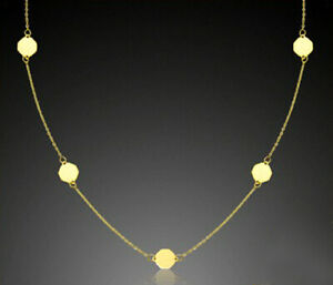 ECHT-GOLD-Feines-Achteck-Motiv-Collier-Kette-42-45-cm