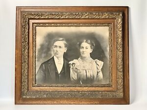 Gilded Victorian Oak Large Antique Picture Frame With Print Of Couple 30x26