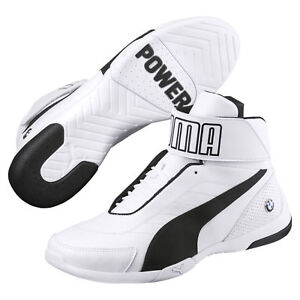 NEW-NIB-Men-039-s-PUMA-BMW-Kart-Cat-III-MID-SF-High-Top-Shoes-Sneakers-Ultra-White