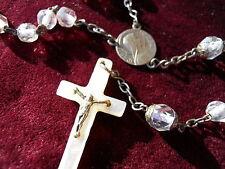 Ancien chapelet nacre argent  et 59 perles à facette , Marie