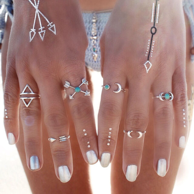 6Pcs/Set Silver Plated Boho Fashion Arrow Moon Midi Finger Knuckle HZ