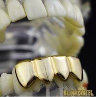 Grillz 14k Gold Plated Four 4 Tooth Lower Teeth Plain Hip Hop Bottom Row Grills