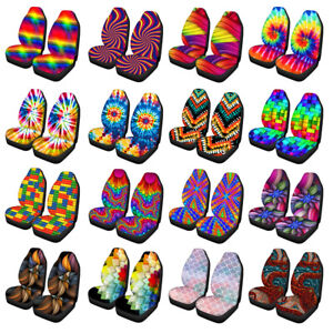 Tie Dyeing Design Colorful Car Seat Cover for Women Front Seat Cover Set of 2
