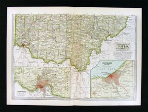 1902 Century Atlas Map Southern Ohio Cincinnati Columbus