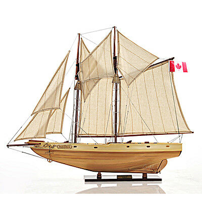 "Schooner Bluenose II Wooden Ship Model 29.5"" Sailboat Fully Built & Rigged Masts"