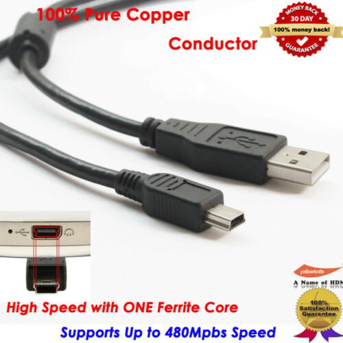 Black 2.0 USB Cable Type A to Mini B Male to Male 5 PIN for Camera//Micro Cable