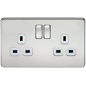 Knightsbridge Screwless Flatplate  13A DP 2 Gang Switched Socket Polished Chrome