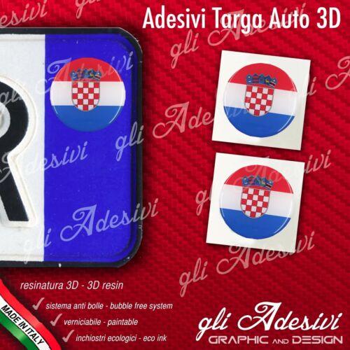2 Adesivi Stickers bollino 3D Resinato targa Auto Moto CROAZIA flag