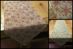 Jute-Hessian-Christmas-Glitter-Snowflake-Dinner-Table-Runner-Green-Red