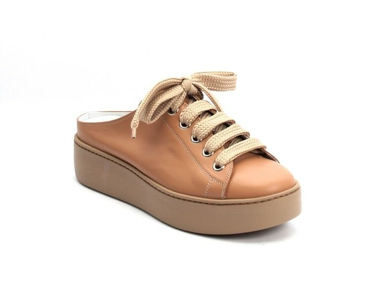 Nando Muzi 213 Beige Leather Lace-Up Rubber Platform Sole Mules 40   US 10