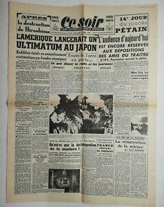 N610-La-Une-Du-Journal-Ce-Soir-8-aout-1945-l-039-Amerique-ultimatum-Japon