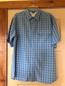 Men-039-s-The-North-Face-Blue-Plaid-Short-Sleeve-Button-Down-Shirt-Size-M