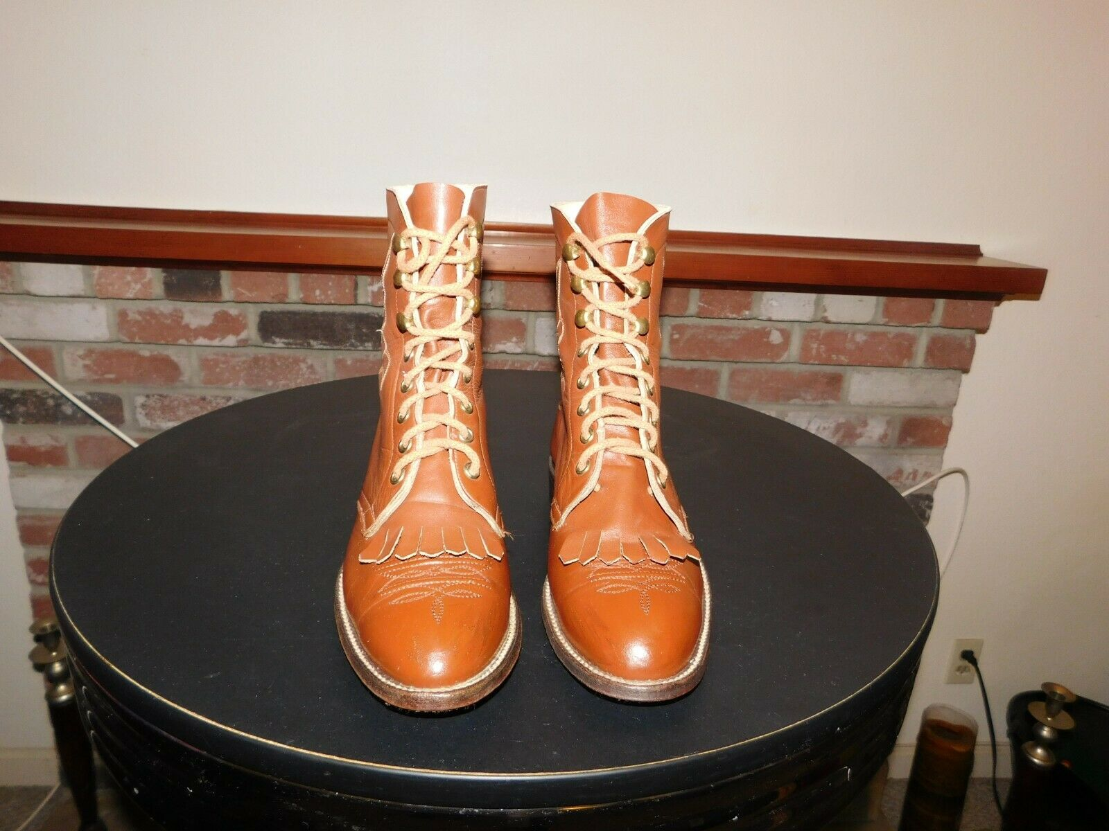 Hondo Women's Brown Leather Lace-up  Granny  Casual Boots SIZE 7 B