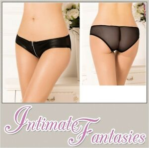 Sexy-Black-Zip-Up-Knickers-PVC-Wet-Look-Front-Panty-Plus-Size-12-14-16-18-20-XL