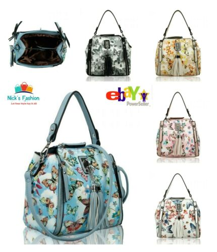 Womens Girls Stylish Butterfly Print Messenger Bag With Front Zip /& Tassel Charm