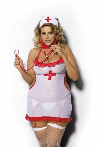 Plus Size Krankenschwester Weiß//Rot Neckholder Dessous Kleid Übergröße XL 6XL