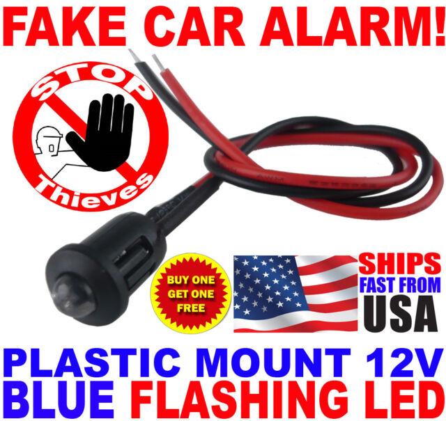 Flashing Blue LED Light Fake Dummy Car Alarm No Wiring Needed