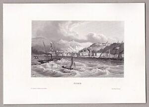 Fiume-Rijeka-Kroatien-Ansicht-vom-Meer-aus-Stich-Stahlstich-um-1850