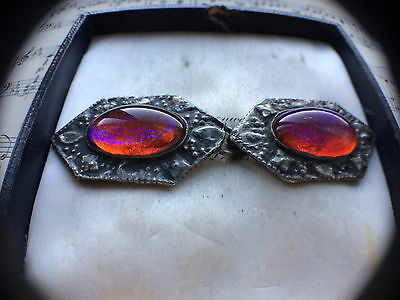 VERY RARE Antique Victorian Arts & Crafts Pewter Dragons Breath Fire Opal Buckle