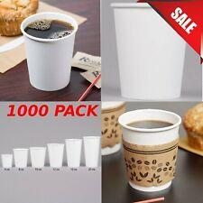 1000 Pack 8 Oz White Plain Paper Disposable Hot Beverage Coffee Cups Bulk