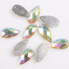 100pcs 24985 Faceted Resin Waterdrop Sew-on Flatback Button Embellishment 9x18mm