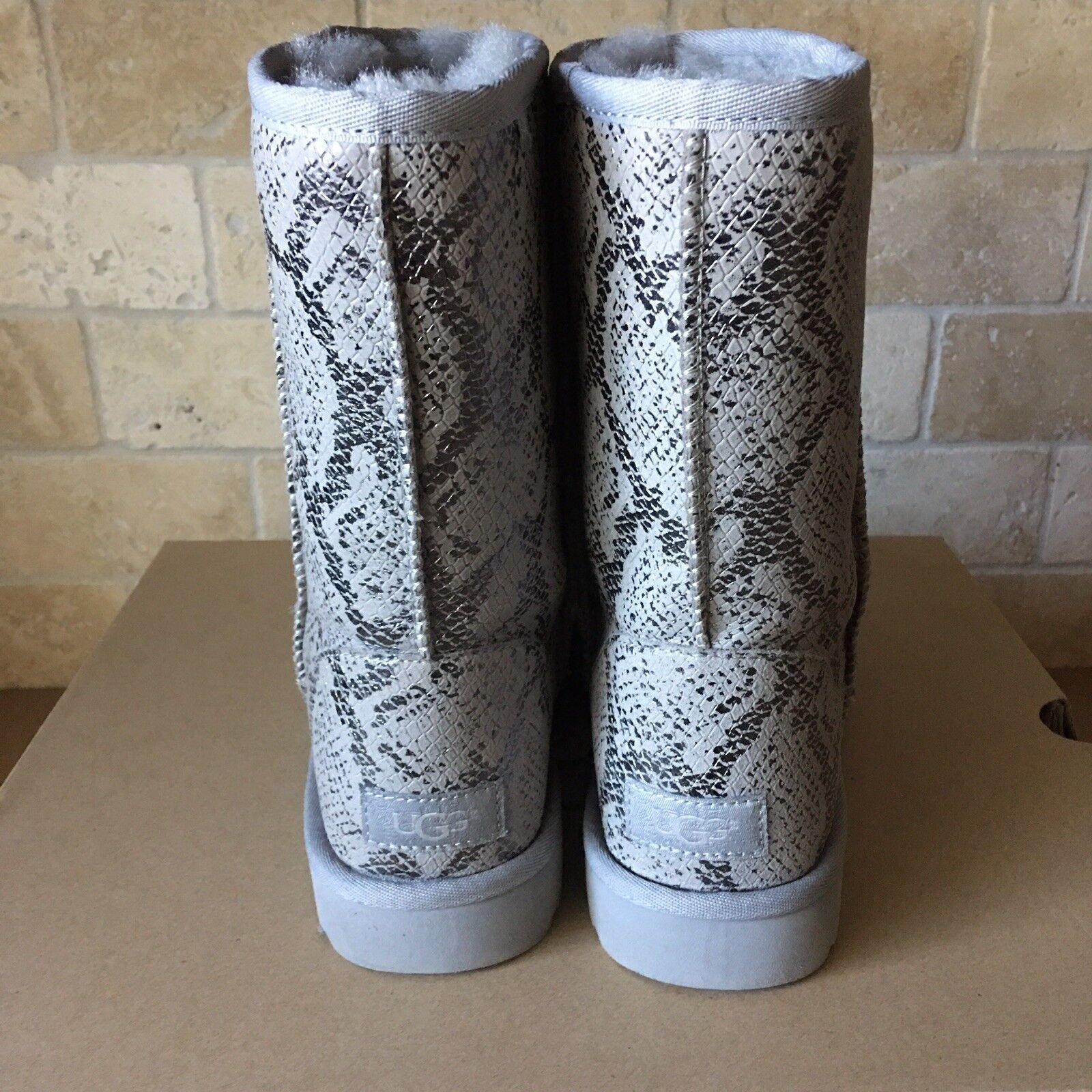 08270f4eada UGG Classic Short Metallic Snake Silver Grey Suede Fur Boots Size US 10  Womens