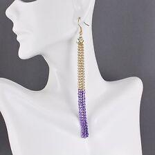 """Purple Gold tone 4.5"""" long tassel fringe chain earrings dangle lightweight"""