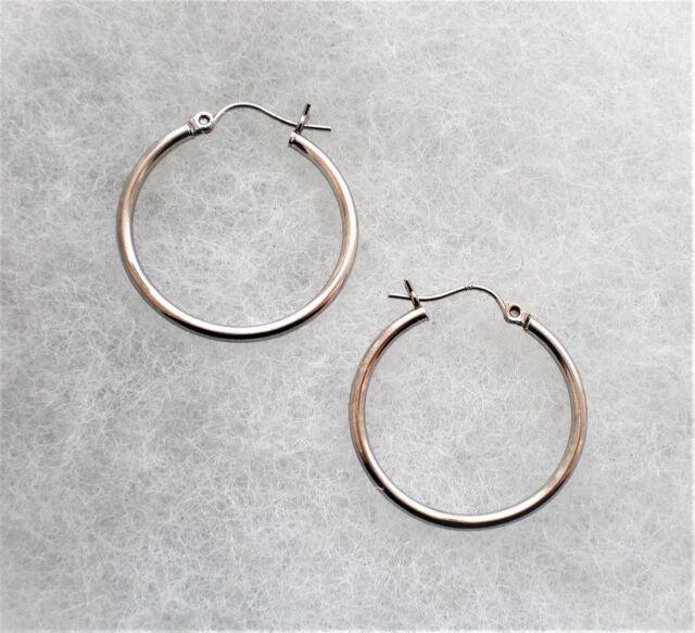 14k White Gold Hinged Hoop Earrings 2 Grams