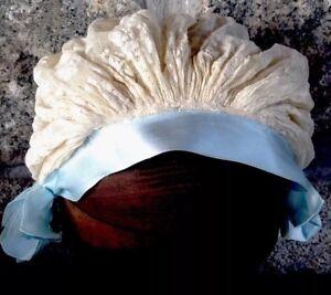 Antique-Cream-Lace-amp-Blue-Satin-Ribbon-Hat-Cap-Bonnet