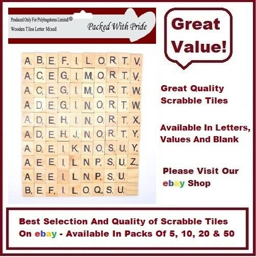 WOODEN - SCRABBLE LETTERS TILES - ARTS & CRAFTS CHOOSE FROM 5, 10, 20, 50.