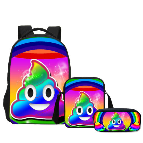 """Rainbow Emoji Poop Print 17/""""Laptop Backpack Cross Body Bag Pencil Bag Wholesale"""