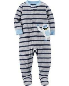 5a82b59799f4 Carter s Yeti Monster Gray   Blue Fleece Sleeper Pajamas Baby Boy 24 ...
